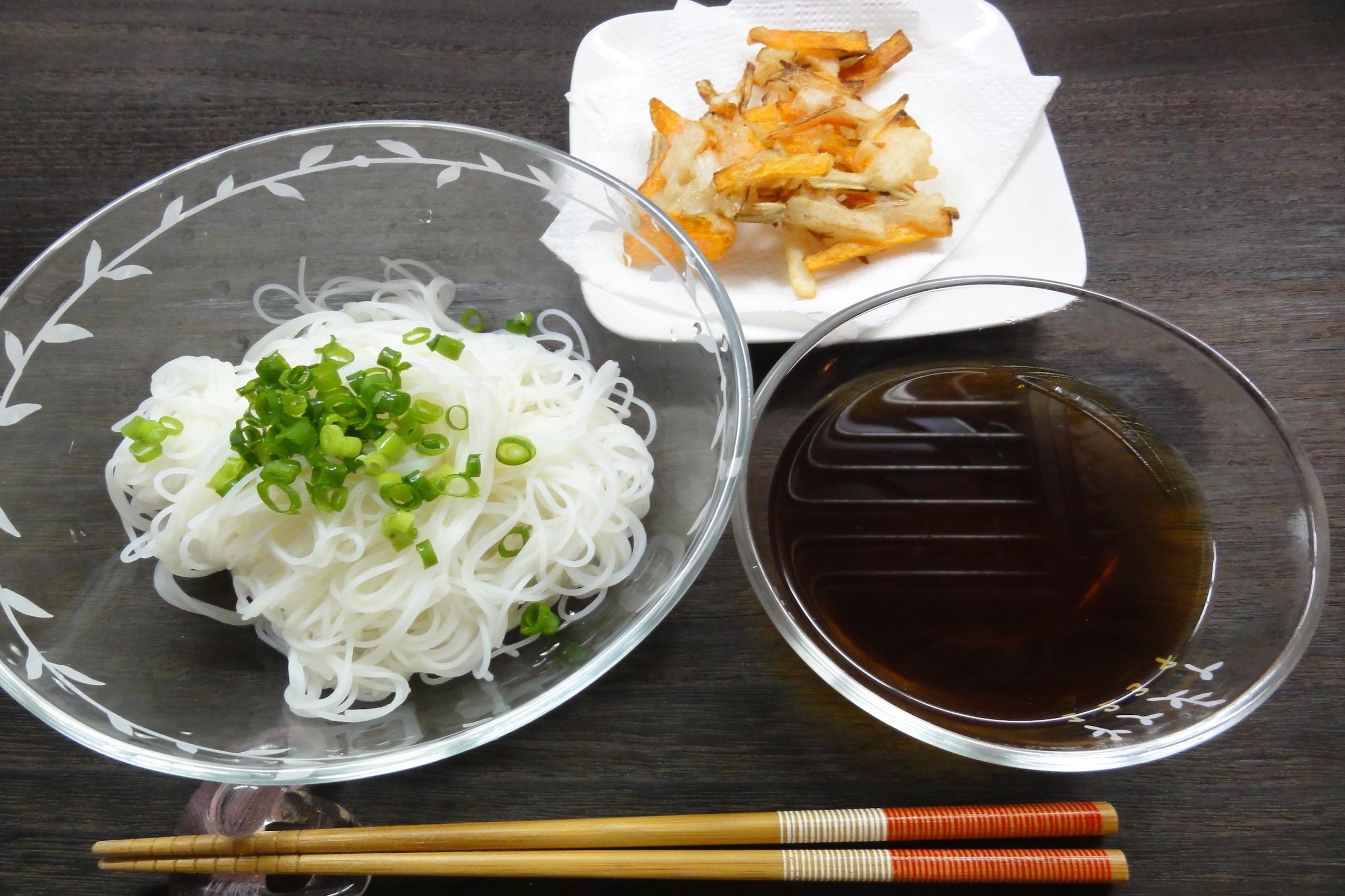 米粉野菜かき揚げビーフンソーメンの完成