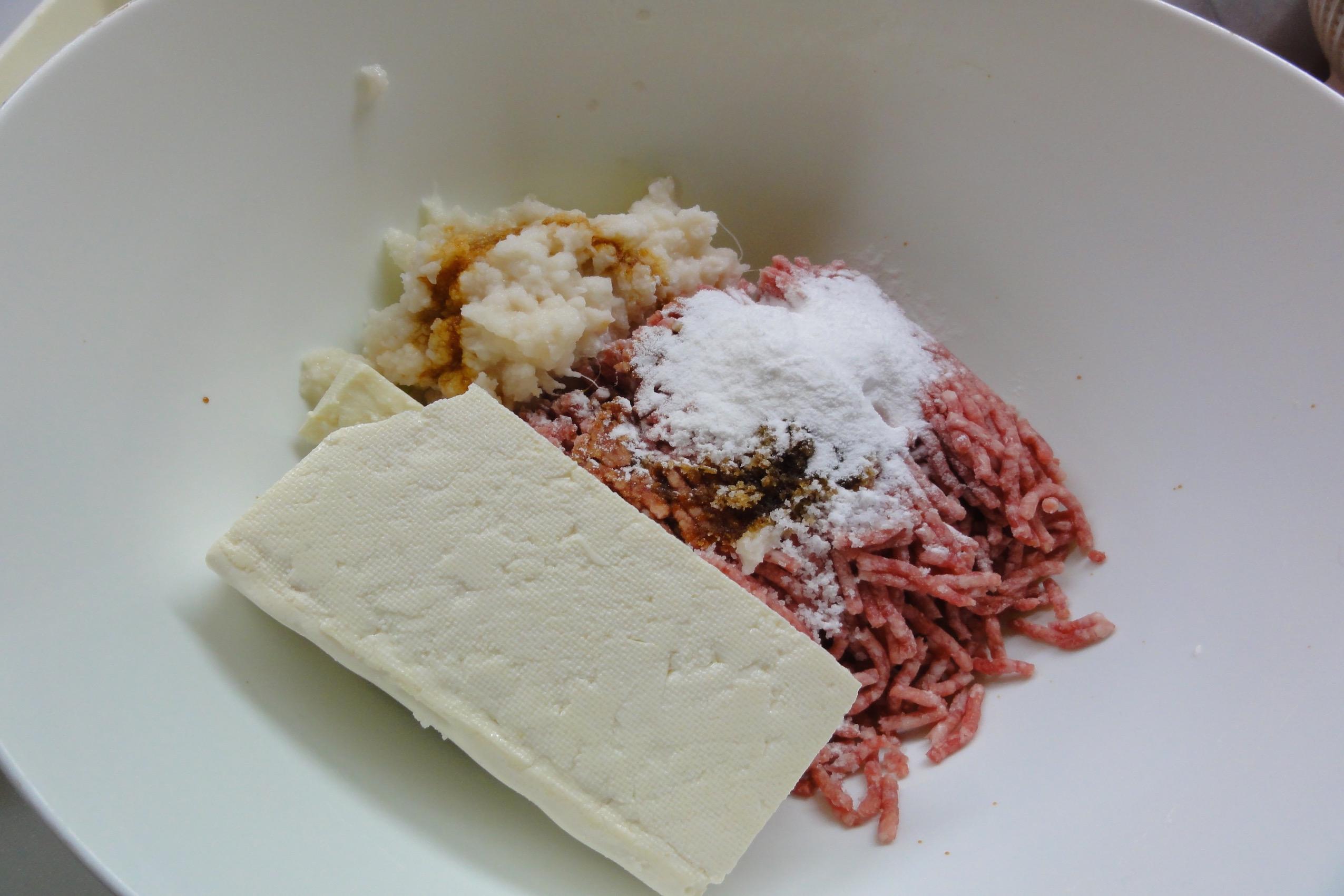 れんこん豆腐ハンバーグの材料