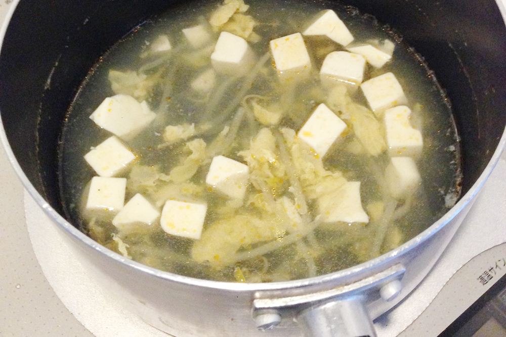 残り物の中華風スープ