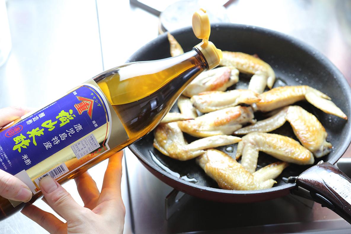 福山米酢赤印で煮詰める