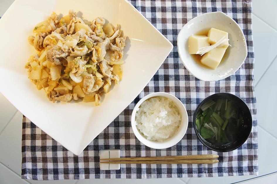 大根と豚肉の味噌炒め