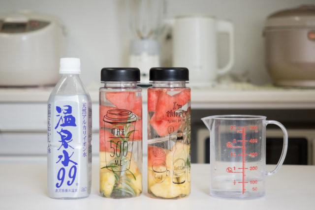 【温泉水99】鮮やか!デトックスウォーター・温泉水99・水道水比較