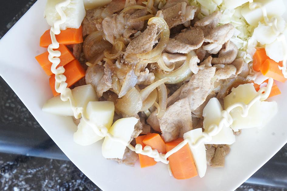 生姜焼きとボイル野菜
