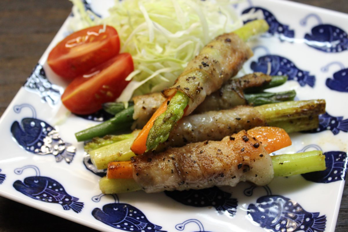 豚肉の野菜巻き焼き,小麦アレルギー対策