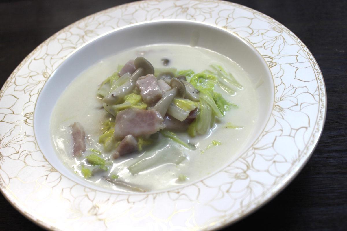 白菜の米粉クリーム煮,小麦アレルギー対策